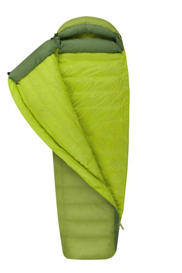 Laadukas vihreä avattava makuupussi.